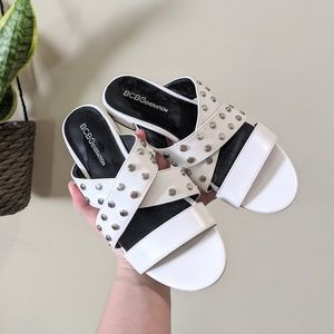 BCBGENERATION Dana Studded Sandal White Size 6.5